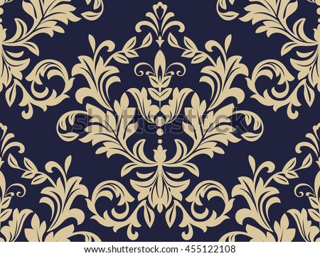 Floral pattern. Wallpaper baroque, damask. Seamless vector background. Gold and blue ornament - stock vector