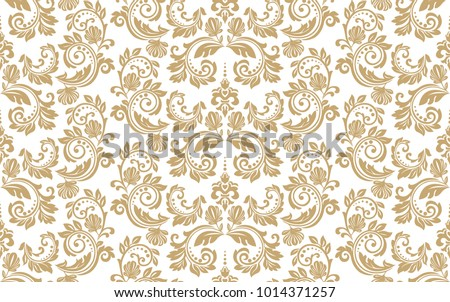 Floral pattern. Wallpaper baroque, damask. Seamless vector background. Gold and white ornament.