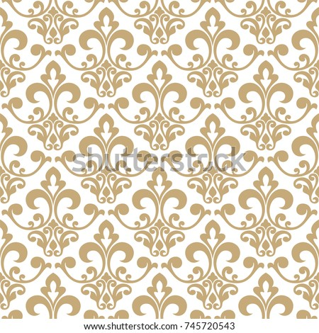 Wallpaper Baroque Damask Seamless Vector Background Gold And White Ornament