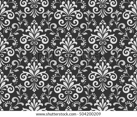 Wallpaper Baroque Damask Seamless Vector Background Grey And Black Ornament