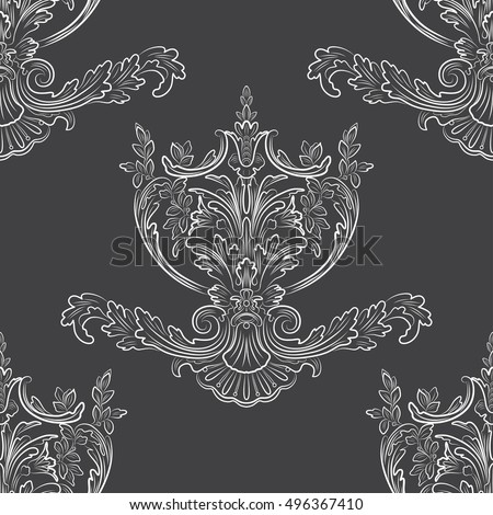 Floral pattern. Wallpaper baroque, damask. Seamless vector background. White and black ornament. EPS