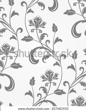 Floral pattern. Wallpaper baroque, damask. Seamless vector gray,white background. - stock vector
