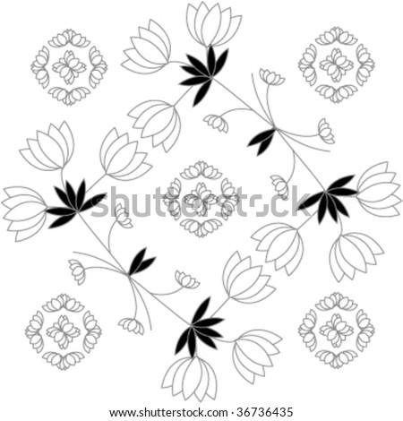 floral pattern wallpaper vector - stock vector