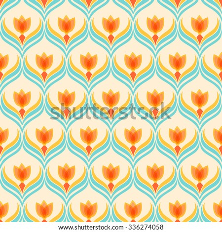 Floral pattern with abstract flowers. Seamless vector background.  - stock vector