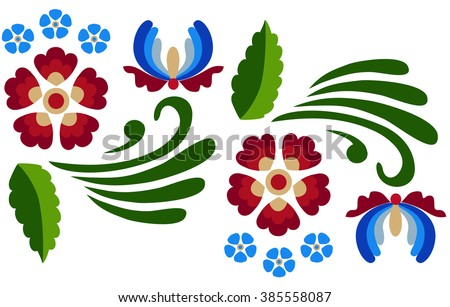 Floral pattern with abstract scandinavian flowers -  based on traditional folk ornaments.  Vector illustration.