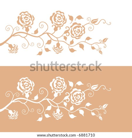 Floral pattern with beige roses