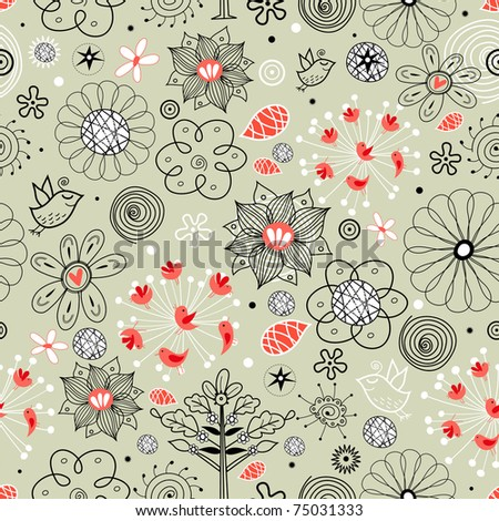 floral pattern with birds - stock vector