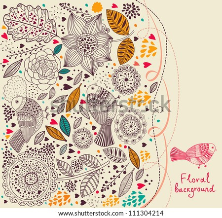Floral pattern with birds. Holiday background
