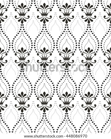Floral pattern with crowns. Wallpaper baroque, damask. Seamless vector background. White and black ornament. Stylish graphic design. - stock vector