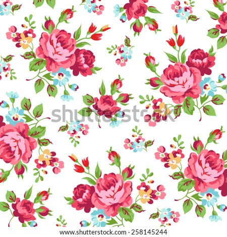 Floral pattern with red rose - stock vector