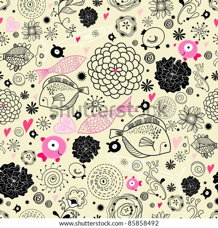 floral pattern with the fishes - stock vector