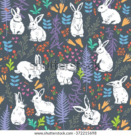 Floral pattern with white bunnies