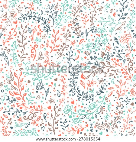 Floral patterns and decorations, leaves, flower ornaments. Vector seamless floral pattern. Hand draw, doodles. - stock vector