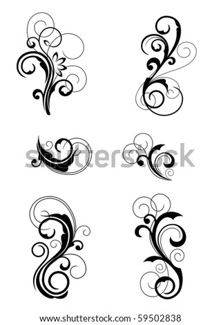 Floral patterns for design isolated on white. Jpeg version also available in gallery - stock vector
