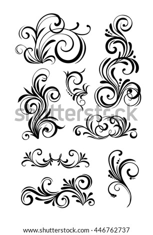 Floral patterns for design isolated on white. Vector illustration