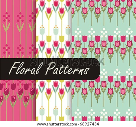 Floral Patterns With Tulip - stock vector