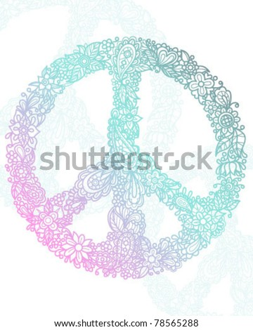 Floral Peace Sign - stock vector