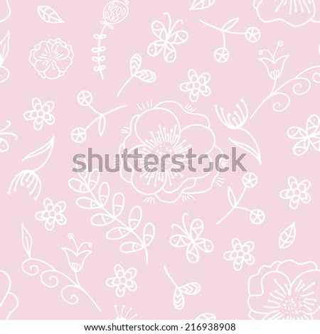 Floral pink seamless pattern - stock vector