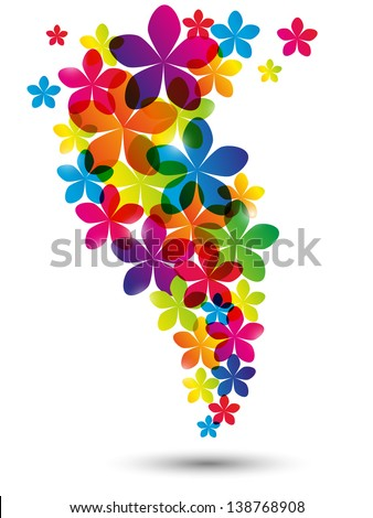Floral rainbow wave on white - stock vector