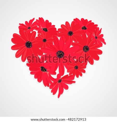 Floral red heart vector illustration