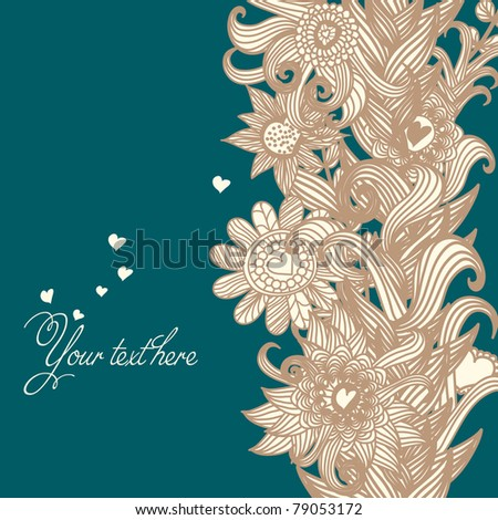 floral retro background with heart - stock vector