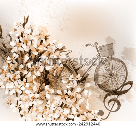 Floral retro background with plum flowers, bike and treble clef - stock vector