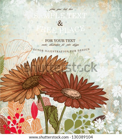 Floral retro ornament with engraving flowers and old paper texture for vintage design - stock vector