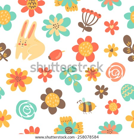 Floral romantic seamless pattern in vector. Seamless floral background - stock vector