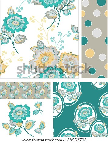 Floral Rose Vector Patterns.  Use as pattern fills to create stunning items for art and craft projects. - stock vector