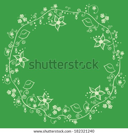 Floral round frame with flowers, leaves and birds, spring design with empty space for your text - stock vector