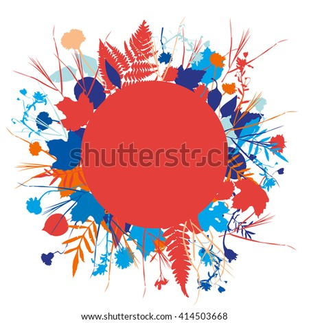 floral round frame wreath of flowers, natural design leaves flowers elements. Spring summer design for invitation, wedding or greeting cards. Navy blue indigo red silhouette, white background. Vector - stock vector