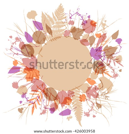 floral round frame wreath of flowers, natural design leaves flowers elements. Spring summer design for invitation, wedding or greeting cards. Lavender pink ivory silhouette, white background. Vector - stock vector