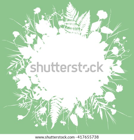 floral round frame wreath of flowers, natural design with leaves and flowers elements. Spring summer design for invitation, wedding or greeting cards. White silhouette, mint green background. Vector - stock vector