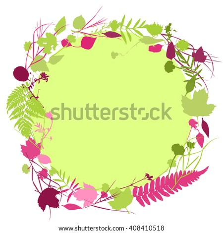 floral round frame wreath of flowers, Spring summer natural design with leaves and flowers elements for invitation, wedding greeting cards. green burgundy pink silhouette, white background. Vector - stock vector
