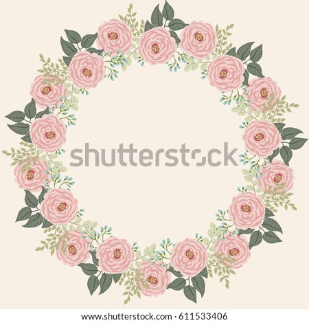 Floral Round Frames From Cute Flowers Of Antique Roses Vector Greeting Card Template Shabby