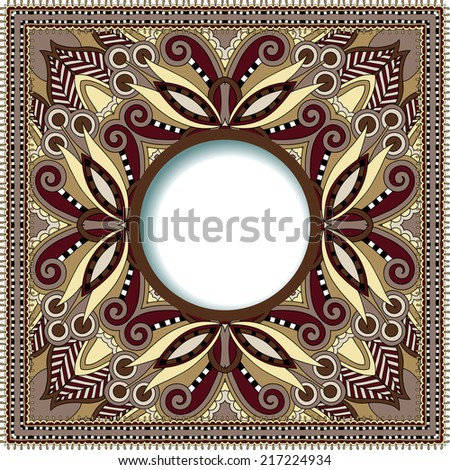 floral round pattern in ukrainian oriental ethnic style for your greeting card or invitation, template frame design for card, vintage lace doily, vector illustration - stock vector