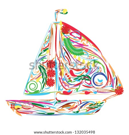 Floral sailing boat which can be used as icon or emblem - stock vector
