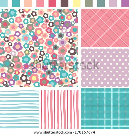 Floral Seamless background. Check Strip Dot Seamless pattern. Seamless pattern can be used for wallpaper, pattern fills, web page background, surface textures - stock vector
