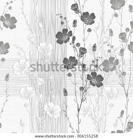 Floral seamless background of flax plant. Monochrome vector background. - stock vector