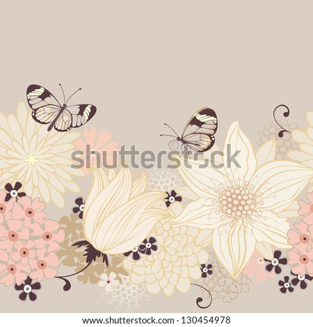 Floral seamless background with lily and butterfly. Vector pattern