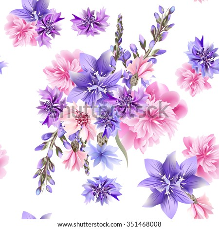 Floral seamless background with pink and blue field flowers - stock vector