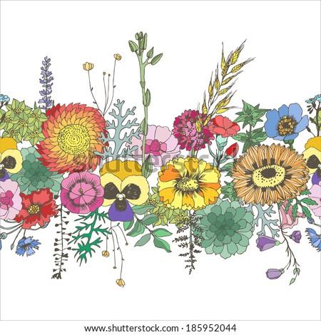 Floral seamless border. Vector hand drawn illustration. - stock vector