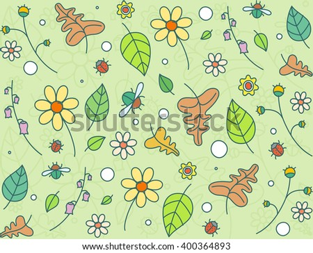 Floral seamless colored background pattern with flowers, leaves and bugs. Vector illustration in doodle style.