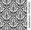 Floral seamless damask pattern in white and black colors. Jpeg version also available in gallery - stock photo