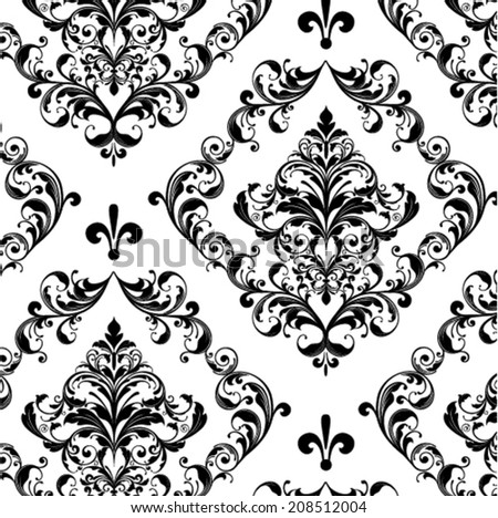 floral seamless damask vector background - stock vector