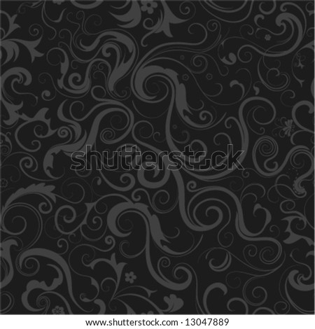 floral seamless decoration for emo-style background - stock vector