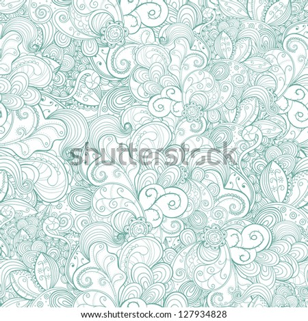Floral seamless light abstract hand-drawn card. Vector background. - stock vector