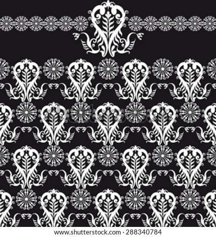 floral seamless patten black and white