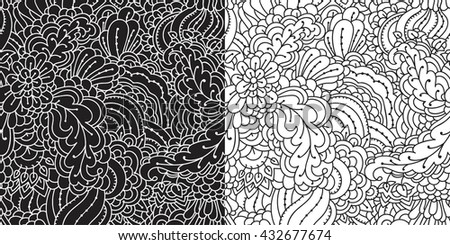 Floral seamless pattern. Abstract herbal pattern for textiles. Intricate plants seamless pattern. Black and white pattern in two versions.
