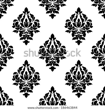 Floral seamless pattern background with black flourish elements - stock vector
